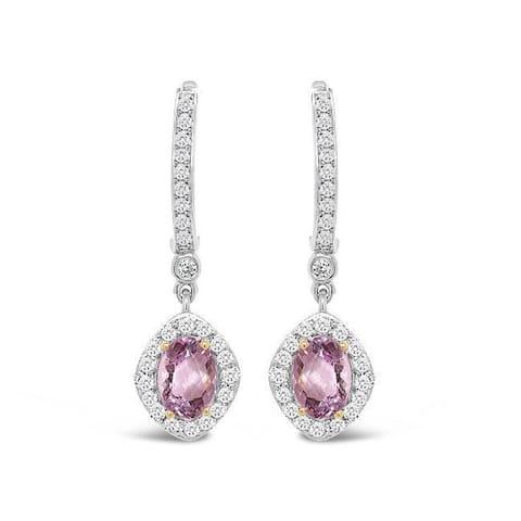 925 Sterling 4 Carat Genuine Kunzite & White Zircon Dangle Earrings for Women