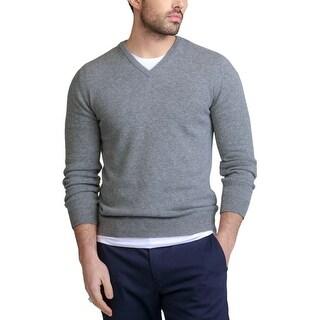 Bloomingdales Mens 2-Ply Cashmere V-Neck Sweater Large L Blue Hazel