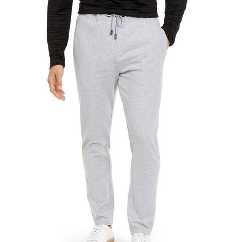 Alfani Mens Sweatpants Gray Large L Pointelle Pinstripe Knit Drawstring