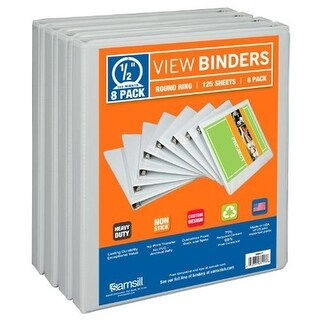 Samsill 0.5 in. Economy Durable View Binder - White, Pack of 8