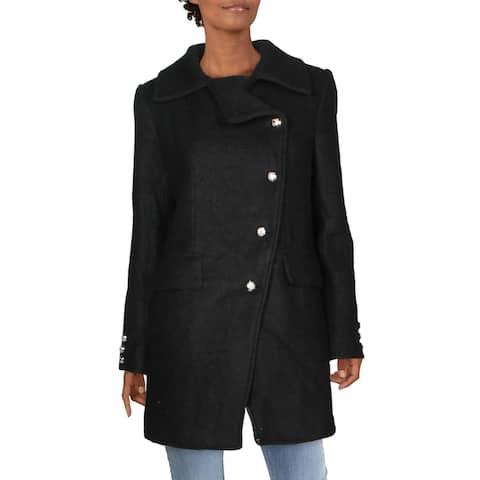 Laundry by Shelli Segal Womens Military Coat Winter Wool Blend - Black - L