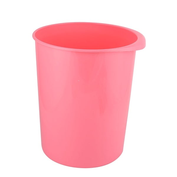 Family Office Plastic Round Shaped Trash Can Dustbin Garbage Container Pink