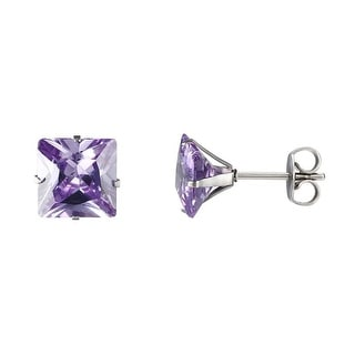 Surgical Stainless Steel Stud Earrings Light Purple Princess Cut Solitaire 7mm