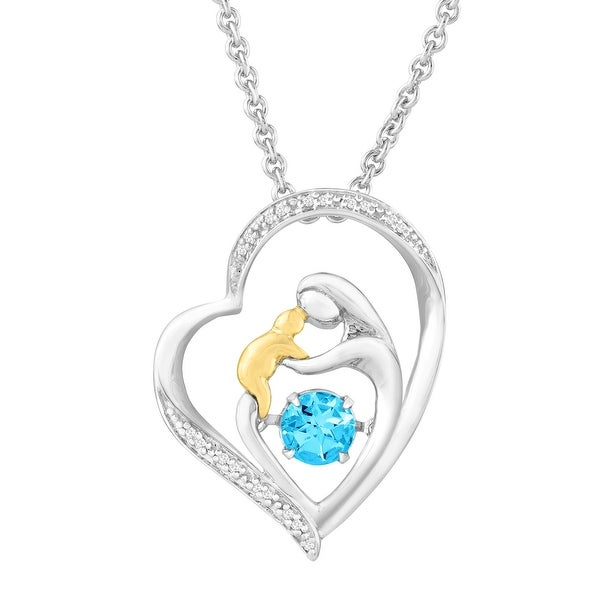 2/3 ct Natural Swiss Blue Topaz Dancing Mother & Child Pendant with Diamonds in Sterling Silver & 14K Gold