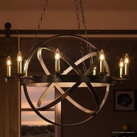 """Luxury Vintage Chandelier, 43""""H x 32""""W, with Transitional Style, Sphere Design, Estate Bronze Finish"""