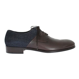 Dolce & Gabbana Brown Leather Blue Denim Formal Shoes
