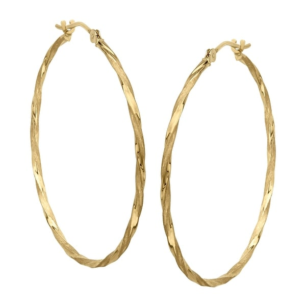 Eternity Gold Twisted Hoop Earrings In 14k Yellow