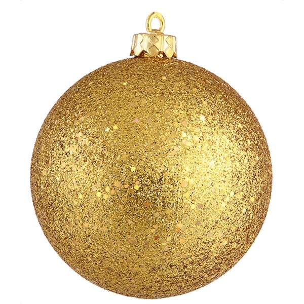 """Shatterproof Antique Gold Holographic Glitter Christmas Ball Ornament 4"""" (100mm)"""