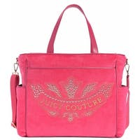 """Juicy Couture Pink Velour Marrakech Cameo Baby Diaper Bag - 13"""" x 7"""" x 12"""""""