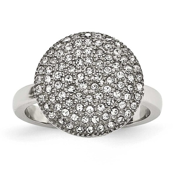 Stainless Steel Polished with Preciosa Crystal Circle Ring