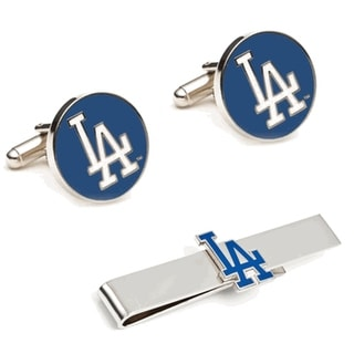 Los Angeles Dodgers Cufflinks and Tie Bar Gift Set MLB - Silver