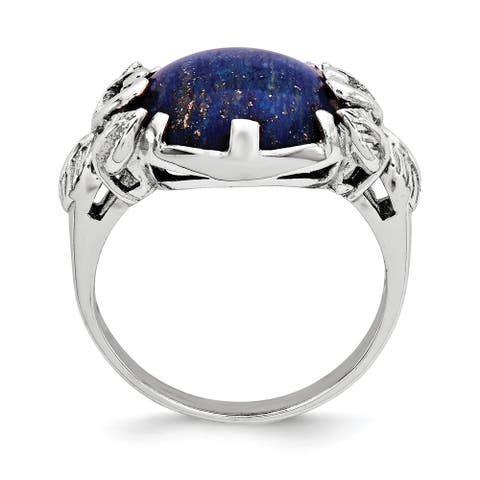 Sterling Silver Rhodium-plated with Lapis Lazuli Ring by Versil