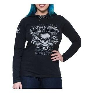 Harley-Davidson Women's Distressed Elixir Skull Hooded Long Sleeve Tee, Black