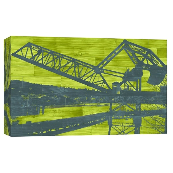 """PTM Images 9-102154 PTM Canvas Collection 8"""" x 10"""" - """"Ballard Train Trestle - Blue and Green"""" Giclee Cityscapes Art Print on"""