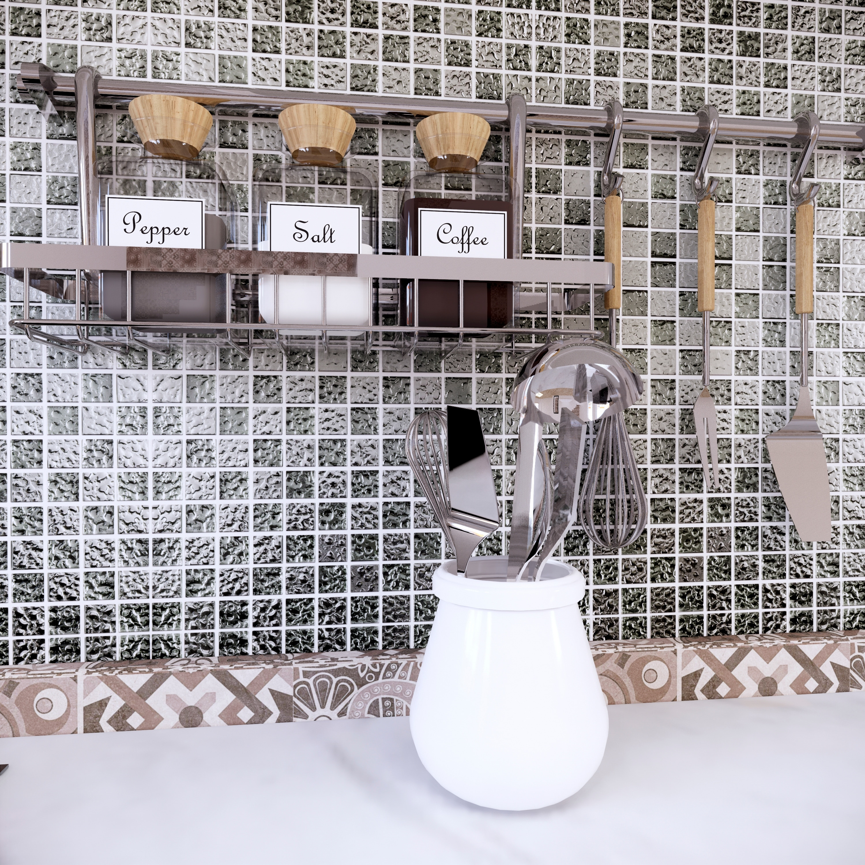 Gl Mosaic Tile In Silver Wall