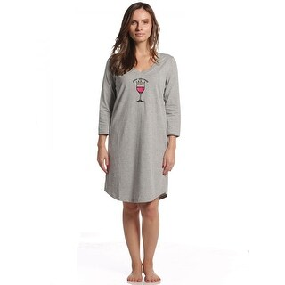 Rene Rofe Women's Pillow Talk Your Wineness 3/4 Sleeve V-Neck Sleepshirt