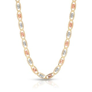 Mcs Jewelry Inc 10 KARAT THREE TONE, YELLOW GOLD WHITE GOLD AND ROSE GOLD, CHAIN NECKLACE (3MM) - Multi