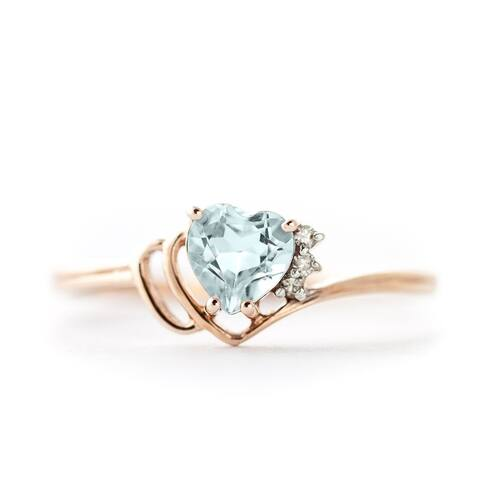 0.97 Carat 14k Rose Gold Aquamarine Gemstone Ring w/ Natural Diamond