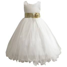 Wedding Easter Flower Girl Dress Wallao Ivory Rattail Satin Tulle (Baby - 14) Green Sage