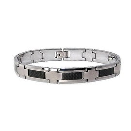 Tungsten Men's Link Bracelet with Black Carbon Fiber (10mm Wide) 9.0 Inches