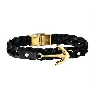 Arrow Design Unique Bracelet Gold Tone Braided Leather Band Stainless Steel