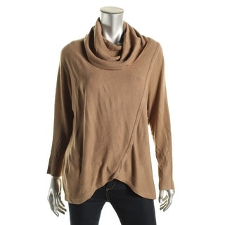 NY Collection Womens Asymmetric Cowl Neck Pullover Sweater