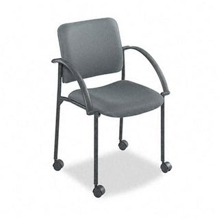 Safco 4184CH Moto Stacking Chairs- Gray Fabric Upholstery- 2/Carton