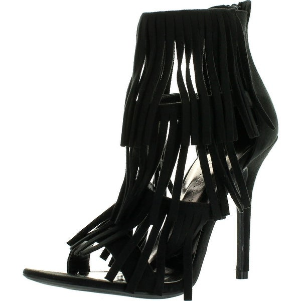 Wild Diva Womens Adele-177 Strappy Layered Fringe Stiletto Heel Dress Sandals