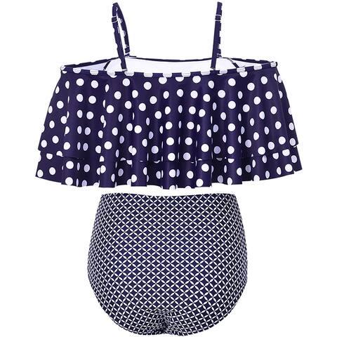 Tempt Me Women Two Piece Swimsuit High Waist Ruffled Bikini Set, Blue, Size 4.0 - 4