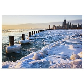 """Lake Michigan in winter, Chicago, Illinois"" Poster Print"
