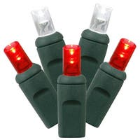 Set of 50 Red and Pure White Commercial Grade LED Wide Angle Christmas Lights - Green Wire