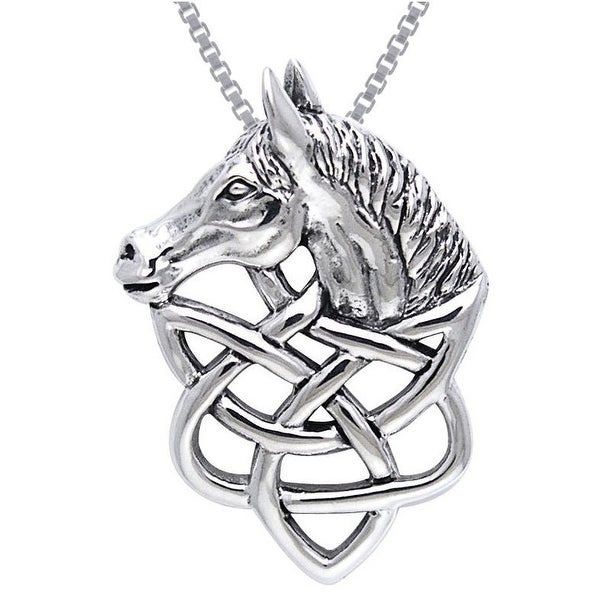 Sterling Silver Celtic Knot Work Horse Head Necklace
