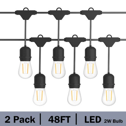 48FT Outdoor String Lights Commercial Grade Waterproof Lights