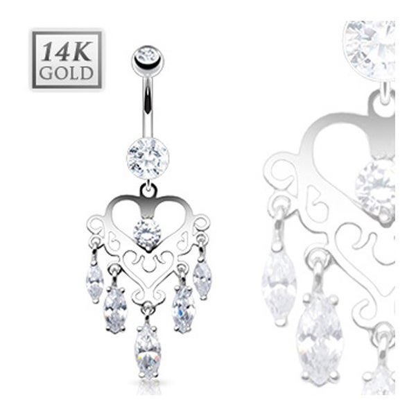 "14 Karat Solid White Gold Navel Belly Button Ring with Marquise CZ Dangle Heart Chandelier - 14GA 3/8"" Long"