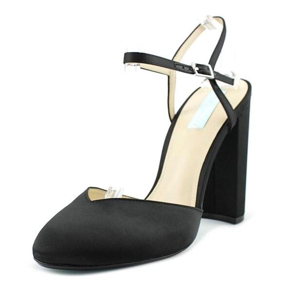 Betsey Johnson Cora Women Round Toe Canvas Black Slingback Heel