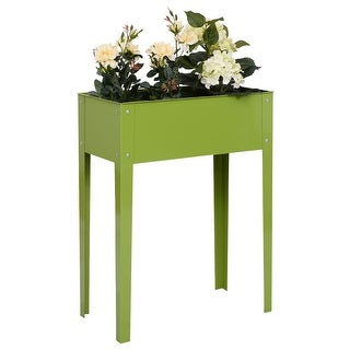 Costway 24'' x12'' Outdoor Elevated Garden Plant Stand Raised Tall Flower Bed Box