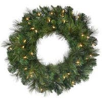 "Two-Tone Green - Deluxe Belgium Wreath 24"" 140 Tips"