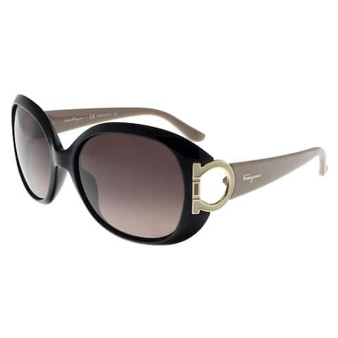 Salvatore Ferragamo SF668S 001 Black Oval Sunglasses - 57-17-125