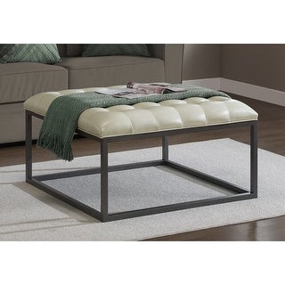 Link to Strick & Bolton Healy Leather Tufted Ottoman Similar Items in Living Room Furniture