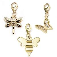 Julieta Jewelry Bee, Dragonfly, Butterfly 14k Gold Over Sterling Silver Clip-On Charm Set