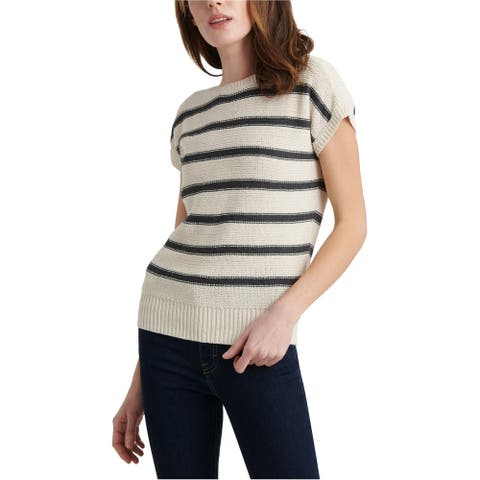 Lucky Brand Womens Striped Pullover Sweater, Off-white, Large