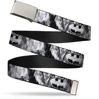 Blank Chrome  Buckle Batman Face Bat Shield Sketch White Black Webbing Web Belt