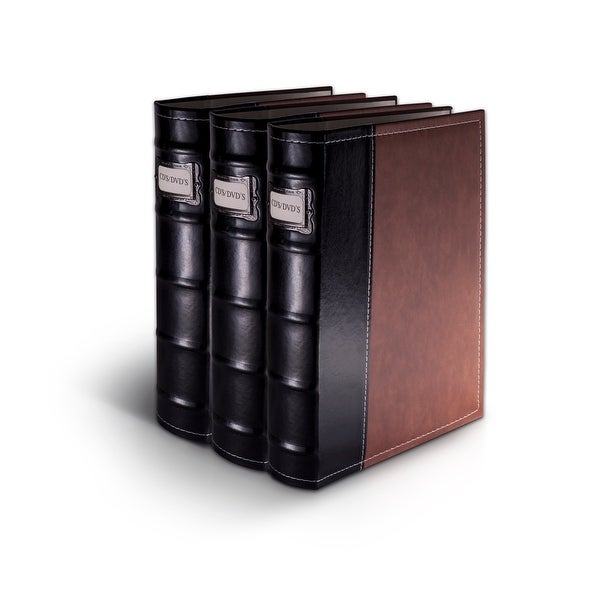 Bellagio-Italia Brown Leather CD/DVD Binder 3 pack