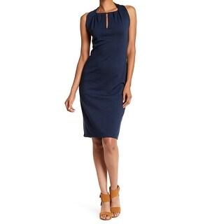 Max Studio Navy Womens Medium Keyhole Sheath Dress