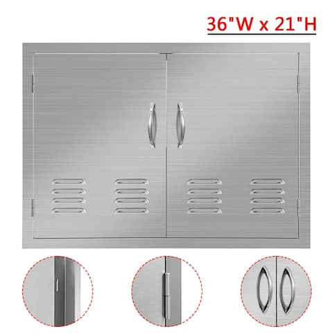 """NewAge Outdoor Kitchen Access 36"""" x 21"""" Stainless Steel BBQ Island Double Door with Vents - 36""""W x 21""""H"""