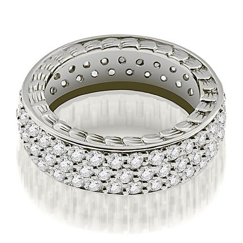 1.17 cttw. 14K White Gold Three Row Vintage Style Round Diamond Eternity Ring