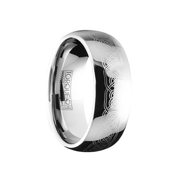 MARCIANUS Polished Engraved Celtic Tungsten Carbide Comfort Fit Ring by Crown Ring