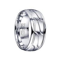 VIBIANUS Domed Cobalt Ring with Engraved Design & Polished Step Edges by Crown Ring - 9mm
