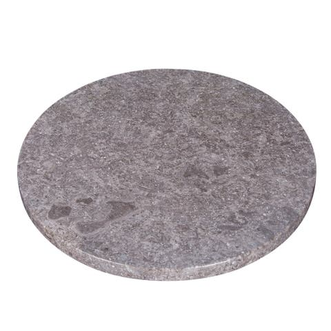 "Creative Home Natural Charcoal Marble 12"" Diam. Lazy Susan Turntable Dinning Table Organizer, Round Cake Dessert Serving Board"