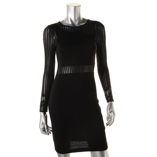 French Connection Womens Sia Lace Inset Long Sleeve Cocktail Dress